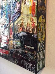 MASAYA-60X80cm, détail, petit format en caisson d'aluminium peint. New York-galerie d'art Biot-côte d'azur