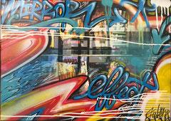 Faben- Acrylique -aerosol sur photo de Kris Riviera sur toile-70X51cm Galerie Gabel -Biot