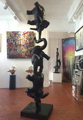 Philippe Berry, Eléphants en bronze patine noire, 200cm- Galerie d'art sud de la France-village de Biot