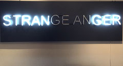 """Strange anger"" Glass neon lights on stainless steel-Joseph (Thierry Michelet)"