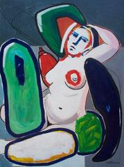 """Thierry Pelletier acrylique sur toile-132X98cm  """"Turkish bath"""" (38,5X51,9)"""