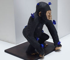 Berry-bronze monkey with butterflies-