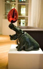 Philippe Berry-Bronze hippo with a balloon.