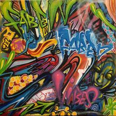 Faben -Acrylique- Posca-aerosol sur toile-100X100cm-Galerie Gabel -Biot