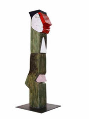 """Jacky Coville-sandstone enameled sculpture totem -82,6""""-contemporary art gallery french riviera-Biot"""