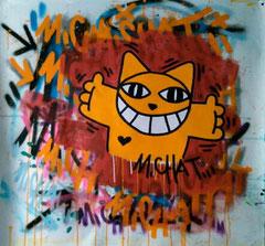 M.CHAT 100X100cm-VENDU  acrylique et aérosol sur toile- galerie Gabel, galerie d'art village cote d'Azur