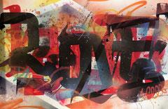 """Faben- Acrylique -aerosol sur toile-145X97cm """"LOVE""""-Galerie Gabel -Biot"""