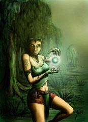Sumpfhexe - Eine Charakterkarte für das Kartenspiel Galdra -> siehe Links (2010)