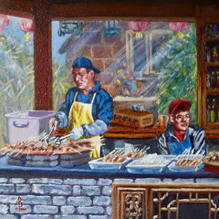 Satay sellers - Oil, 8 x 8 inches (20 x 20 cm)
