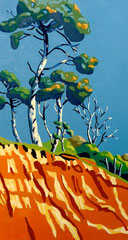 Stormy light on pines, Lepe - Acrylic on heavy card, 14 x 7 ½ inches (36 x 19 cm)