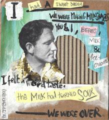 Rebekkassine, Rebekka Endler, McGuffin, Milkshakes. Mixed media on cardboard, 2014.