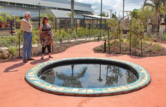 reflection pond with ceramic tiles