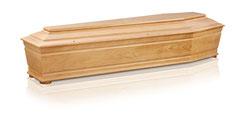 Italienischer Sarg mit Kehlungen  Massivholz Tanne  Farbe honig, matt lackiert  Rondellenfüsse  Kugelschrauben GOLD / Antei Angehörige  Fr. 465.-