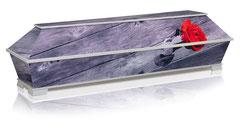 Sarg aus Multiplex Pappel  Dekor Rose der Erinnerung  Kastenfüsse / Preis auf Anfrage