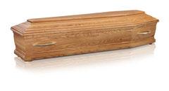 Italienischer Sarg mit Kehlungen  Massivholz Eiche  Farbe natur, matt lackiert  Rondellenfüsse  Metallgriffe Nr. 19 GOLD  Kugelschrauben GOLD / Antei Angehörige  Fr. 474.-