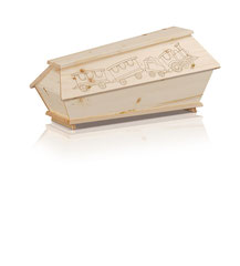 Kindersarg Massivholz Fichte  Farbe natur, lackiert  Motiv Eisenbahn  Kugelschrauben GOLD / Antei Angehörige Fr. 82.-