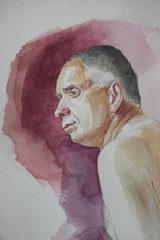 Pierre, aquarelle sur papier, 50/32cm, 2018