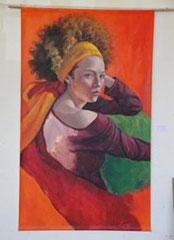 """""""Mélanie au turban jaune"""", acrylique sur toile, 120/202 cm, 2010"""