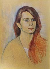 Marie chevelure de feu, crayons pastel sur papier teinté, 2015