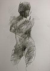nu debout, graphite sur papier, 65/50 cm, 2012