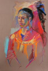 Habi coiffure haute, pastels sur pastel-mat, 65/50 cm, 2016