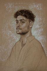 Victor, crayon fusain et pastels blanc et verts, 50/32cm, 2019