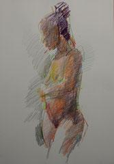 nu, crayons de couleur sur papier, 65/50 cm, 2012