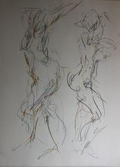 études, 2 poses rapides, graphite et crayons de couleur/papier, 65/50cm