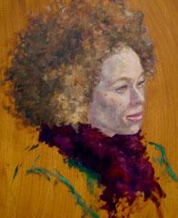 """""""Mélanie au boa fuchia"""", huile sur toile, détail, 2007"""