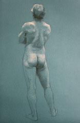 nu, pierre noire et craie blanche, 50/32 cm, 2015
