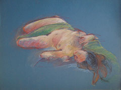 nu couché, pastel sur papier, 50/65 cm, 2005