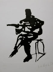 Guitariste, xylographie, 2004