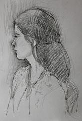 Pauline, crayon fusain sur papier, 40/32 cm, 2014