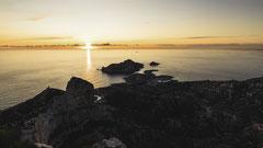 Soleil couchant sur les Goudes et l'île Maïre