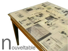 nouvetable, decollage vouge 1920 e resina opalina