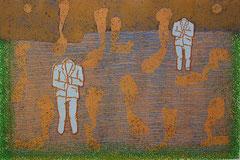 """Transfield I"", 2005, Linolschnitt auf Seidenpapier und Karton (Unikat), 50 x 76 cm"
