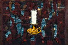 """""""Transfield IX"""", 2008, Linolschnitt auf Seidenpapier und Karton (Unikat), 50,5 x 76 cm"""