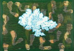 """Transfield V"", 2008, Linolschnitt auf Seidenpapier und Karton (Unikat), 50,5 x 72,8 cm"
