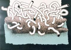 """Ruhelage III"", 1997, Linolschnitt, 100 x 140 cm"