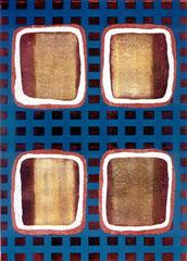 """Nachtprogramm 2"", 1995, Linolschnitt (Unikat), 140 x 100 cm"