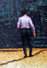 """""""Bote IX"""", 2014, Öl auf Leinwand, 130 x 90 cm"""