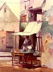 Venta de Fritos 1984 Acuarela Rafael Espitia