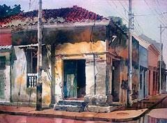 Después de llover 1988 Acuarela Rafael Espitia
