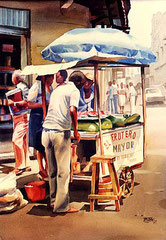 El Frutero Mayor 1987 Acuarela Rafael Espitia