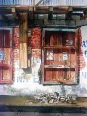 Los Escombros 1988 Acuarela Rafael Espitia