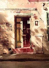 Atardecer 1988 Acuarela Rafael Espitia