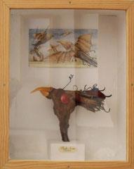 phyto-avia - racine de rosier, émail sur cuivre, aquarelle, boîte vitrée 45x50 cm