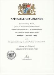 Humanmedizin 1996-2003 (Volle Approbation 2004)