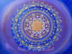 Mandala 'Goldenes Zeitalter' mit dem Shri Yantra Symbol in der Mitte 60 x 80 cm / CHF 550