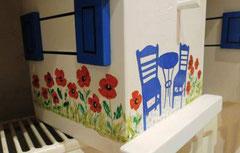 houten nestkastje beschilderd bistrootje klaprozen Grieks_1
